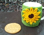 Sunflower mug hug / mug cosy with biscuit pocket / cookie pocket in green.