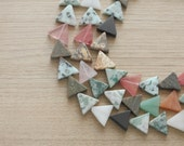 10 pcs of  Triangle Mixed Natural Gemstone Beads - 16 mm