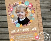2nd Birthday Party Invitation Girl Floral Recycled Kraft Printable Digital Photo Invite 18th 21st 30th 40th 50th Anniversary Christening