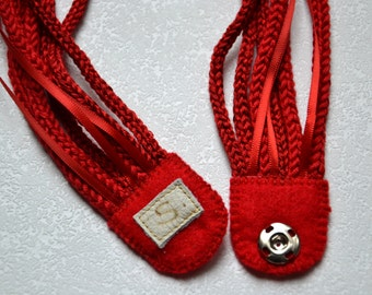 Knitted red i-cord necklace Tube knit multi-strand necklace Crocheted rope necklace Minimalist fiber jewelry