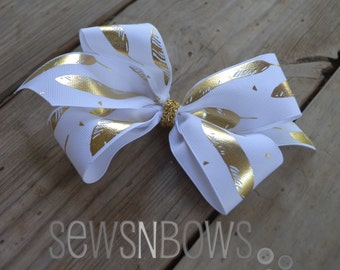 Gold Feathers Hair Bow