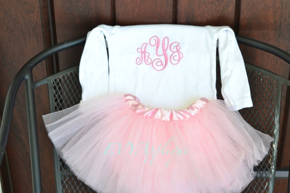 Personalized newborn outfit with tutu, monogrammed baby outfit, baby shower gift!  Personalized take home outfit, embroidered baby layette