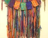 Shabby Boho Curtains And Valance Set Batik  And Sari Silk Gypsy Ribbons