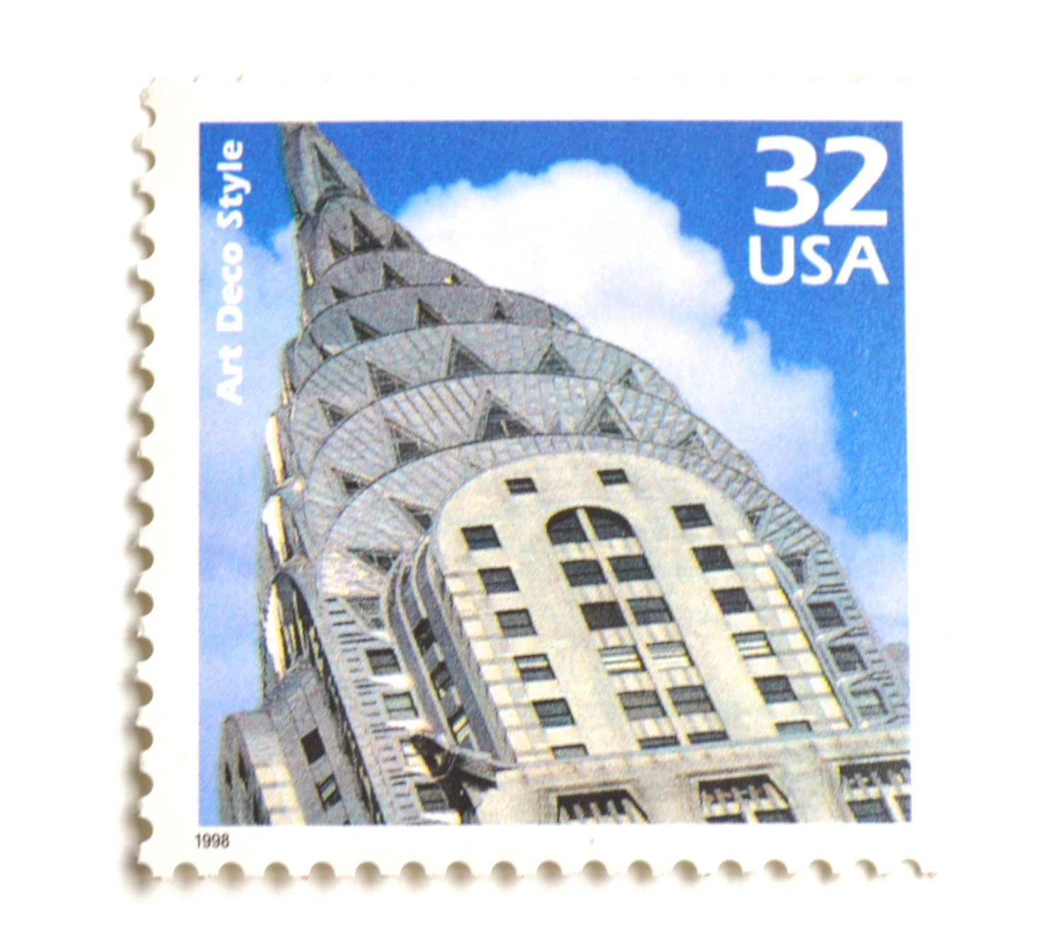5 unused art deco stamps the chrysler building 32 cent for New york state architect stamp
