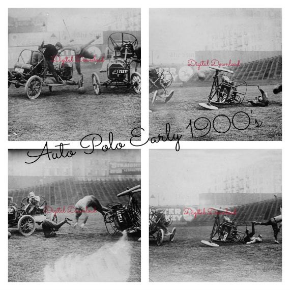 Model T Auto Polo Early 1900s Using Cars Instead Of Horses Man Cave Polo Club Sports Bar Crashed 4 Photographs Digital Download (405)