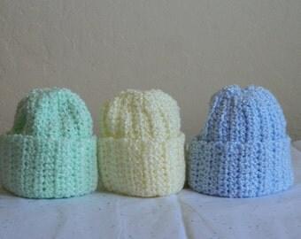 Three Baby Beanies - Green, Blue, Yellow