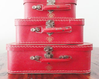 Vintage Children's Suitcases Trio Mid-Century Mini Luggage