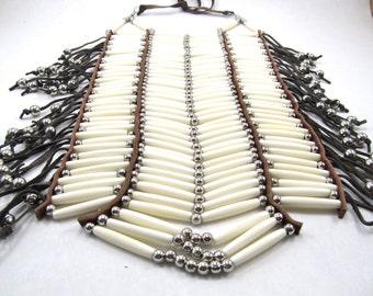Buffalo Bone Full Breastplate, Pow Wow Necklace, Native American Inspired, Bone Hairpipe Breastplate, Ceremonial Bone Choker