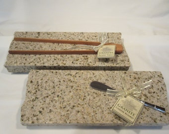 Granite Sushi Tray and Cheese Board set, light dusty pink mix with sushi tongs and cheese knife