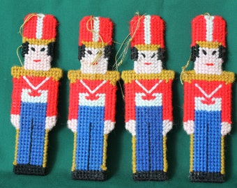 Vintage set of 4 plastic canvas Toy Soldier Christmas ornaments,hand sewn ornaments, two sided yarn ornaments,trim a tree,vintage Christmas