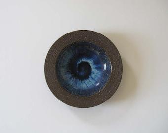 Michael Andersen & Son Shallow Stoneware Bowl + Blue Glaze Interior - Bornholm, Denmark 1960s