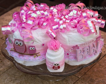 Pink Owl Baby Shower Diaper Cake Centerpiece | Owl Baby Shower Cake | Pink Owl Baby Shower | Diaper Cake