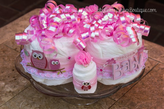 Pink Owl Baby Shower Diaper Cake Centerpiece