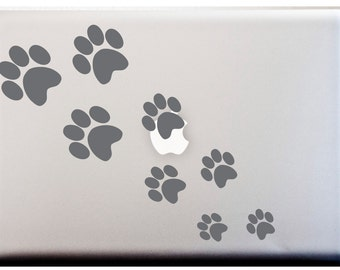 LAPTOP DECAL // Dog Cat Paw Print Silhouette Stripe Decal Meow Woof Kitty Puppy Feet Stickers