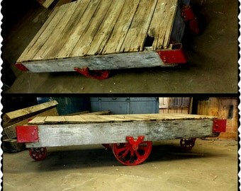 REDUCED Early Century Extra Large Antique Industrial RAILROAD Baggage CART  Original 1900u0027s Wood Metal Factory 36x77x17