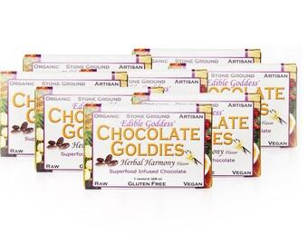 8 Bar Bulk Discount, Raw Vegan Superfood Herbal CHOCOLATE GOLDIES - Adaptogenic, Hormone Balancing, Aphrodisiac Sensual Chocolate Love Bars