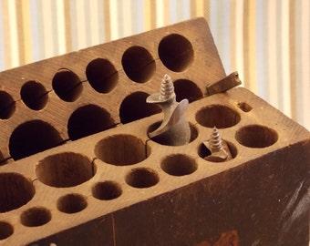 Drill Bit Holder Vintage Handmade Wooden Drill Bit Holder