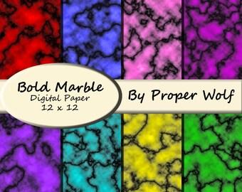 Marble Pattern Digital Scrapbooking Paper - Bold Colors - Digital Download