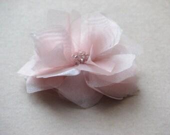 Blush hair flower Wedding hair clip Wedding hair flower Blush wedding clip Pink hair flower Blush organza hair flower Organza wedding flower