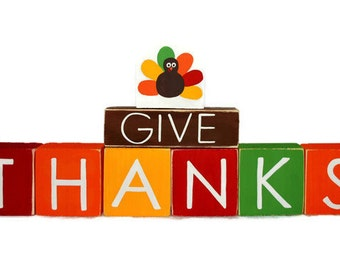 Give Thanks Thanksgiving Turkey Decor WoodenBlock Shelf Sitter Stack