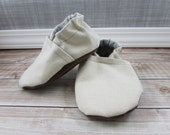 Natural Cotton Canvas Baby Shoes, Cream Toddler shoes, Soft Soled Shoes, Baby Booties, Crib Shoes, Girl Boy, Moccasins, Slippers