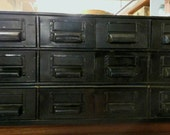 Customize Me! Painted Vintage Industrial 18 Drawer Card Catalog Metal File Cabinet Office Storage Art Craft Heavy material