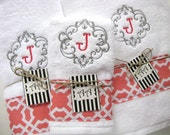 Personalized Towels, hand towel, bathroom, personalized gift, embroidered  towels, coral grey, gray and coral, monogrammed towels,