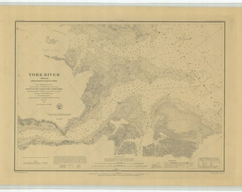 York River from Entrance to Kings Creek - 1884 Nautical Map - Chesapeake Bay, Virginia Harbors - 398 Reprint