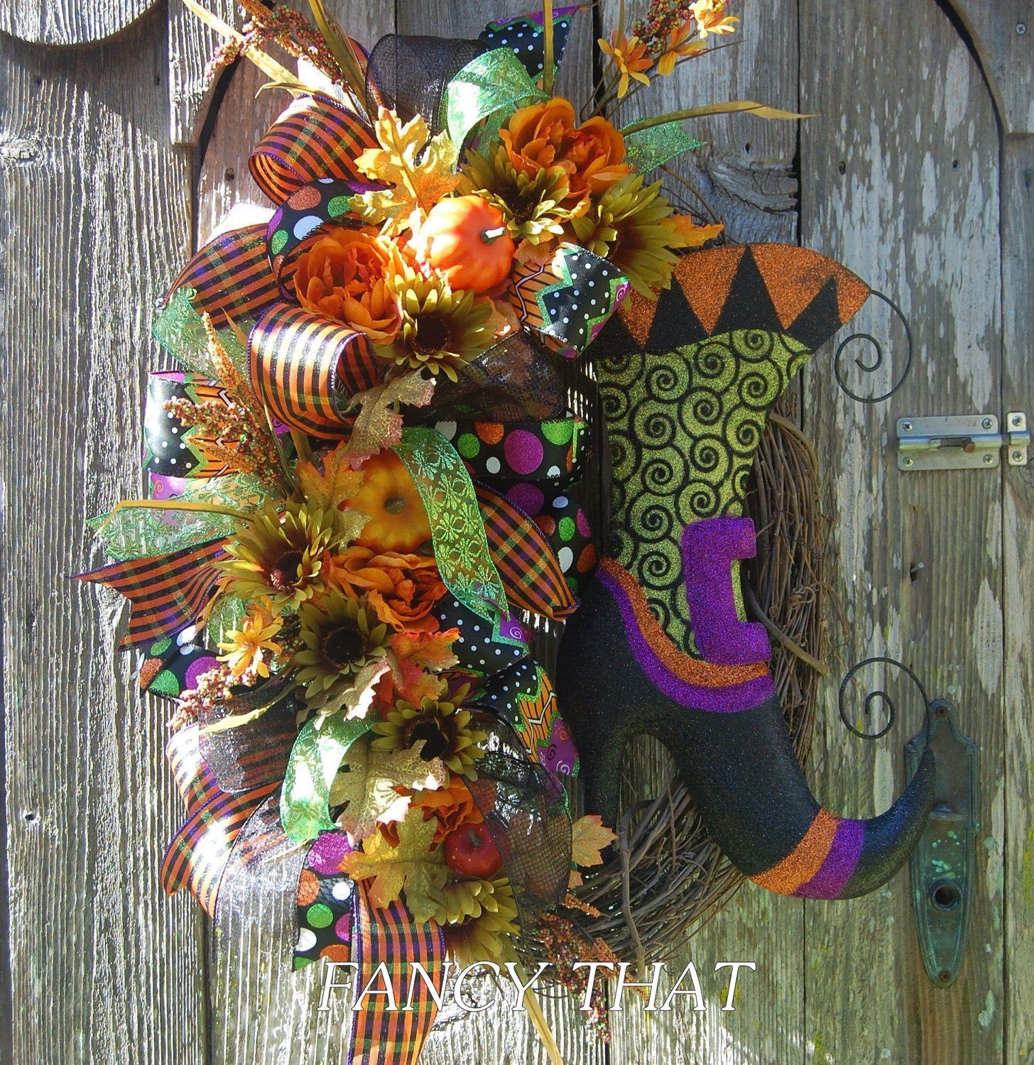 Jet Max Limited Lighted Grapevine Pumpkin: Halloween Witch Boot Wreath Glittered Witch Boot Halloween