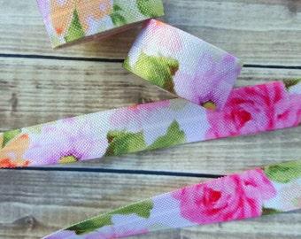 5/8 Romantic Rose Fold Over Elastic