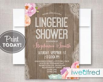 Lingerie Shower Invitation, Lingerie Shower Invitation Printable, Lingerie Invitation Printable, Lingerie Invitation Template, DIY, #BR023