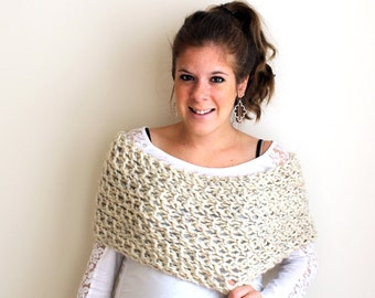 Wedding Shawl Knit Bridal Shrug Scarf Wheat- Pasquotank Cowl