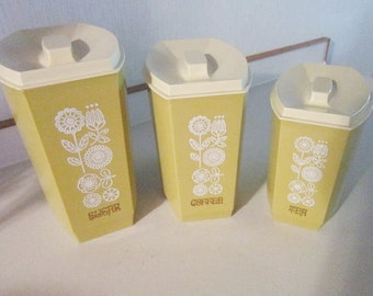 Vintage kitchen utensil Nesting Canisters kitchen Sugar, coffee, tea  vintage  canisters (3) included  shersvintagefinds holiday2015