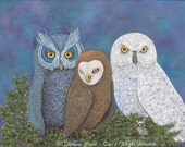Owl Fantasy Art Print ~Three Bird Nest ~ Theresa Stahl  Whimsical Owls Home Office Bedroom decoration Bird Prints  Unique Wall Art Gift Idea