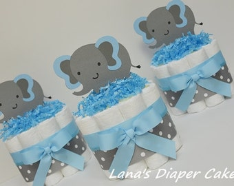 Set Of 3  Blue And Gray Elaphant Mini Diaper Cake Baby Shower Centerpiece