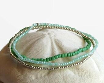Beaded stretch bracelet, seed bead bracelet set of 3, boho chic mint emerald and silver
