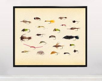 Fly Fishing - Colorful Fishing Lures  - Art Print - Fishing Poster - Fishing Art - Fishing Lures - Fishing Decor - Fishing Wall Art -