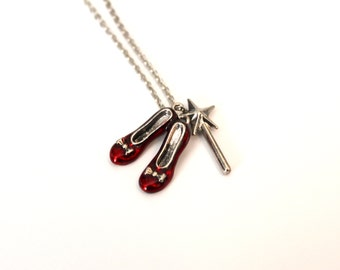 Dorothys' Red Slippers Charm Necklace
