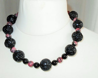 Black and Pink Oriental Large Carved Bead,  Black Onyx , Black and Pink Rhodonite Vintage Bead Necklace OOAK
