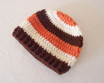 CLEARANCE! RTS 3 to 6 Months Baby Striped Beanie Hat - White, Orange, Brown