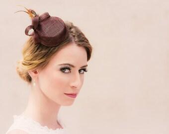 Bridal hat fascinator bellboy loops feathers sinamay chocolate