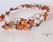 Autumn wedding headwreath Bridal floral crown Bridal flower tiara with pearls Wedding headpiece Orange flowers headband Autumn wedding