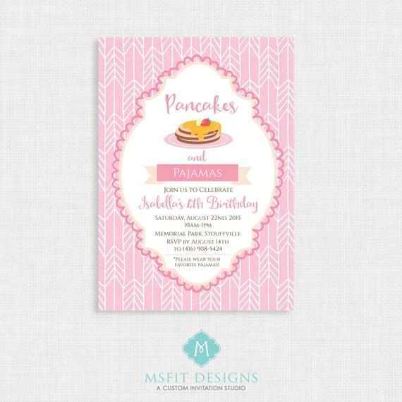 Pancakes and Pajama Birthday Invitation- Pajama Party Birthday Printable,  Birthday Party Invitations, DIY,  Printable Template, Birthday