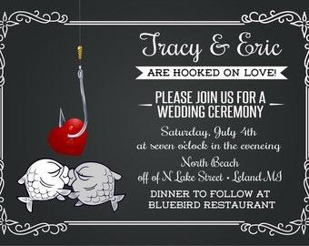 Fishing Wedding Invitation - Unique Wedding invitation - Chalboard Wedding Invites