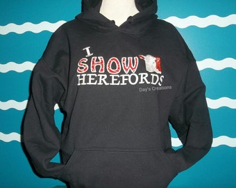 Youth Embroidered hereford cow sweatshirt - Custom I show Hereford cows embroidery hoodie sweatshirt