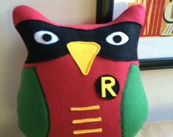 Robin Owl Pillow- Inspired by Batman and Robin- Large Owl Pillows- Dynamic Duo Pillows