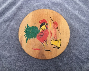 Hamburger Press, Rooster Folk Art, Wooden, Vintage 1960s, Worn Top, Colorful, 241