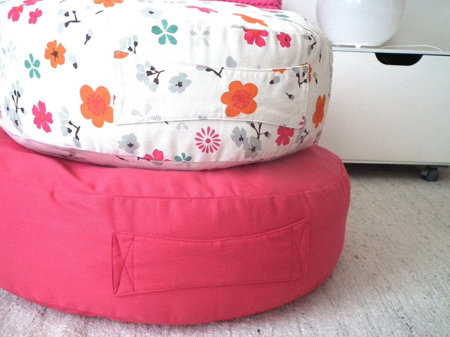 Big Round Floor Cushions : Big Pink Round Floor Cushion Ottoman Pouf Vibrante by LoopingHome