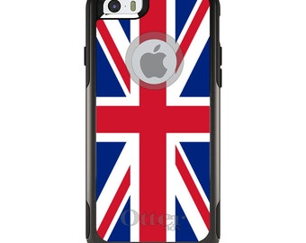 OtterBox Commuter for Apple iPhone 5S SE 5C 6 6S 7 8 PLUS X 10 - Custom Monogram - Any Colors - Red White Blue British Flag UK