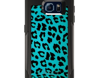 OtterBox Commuter for Galaxy S4 / S5 / S6 / S7 / S8 / S8+ / Note 4 5 8 - CUSTOM Monogram - Any Colors - Teal Black Leopard Skin Spots